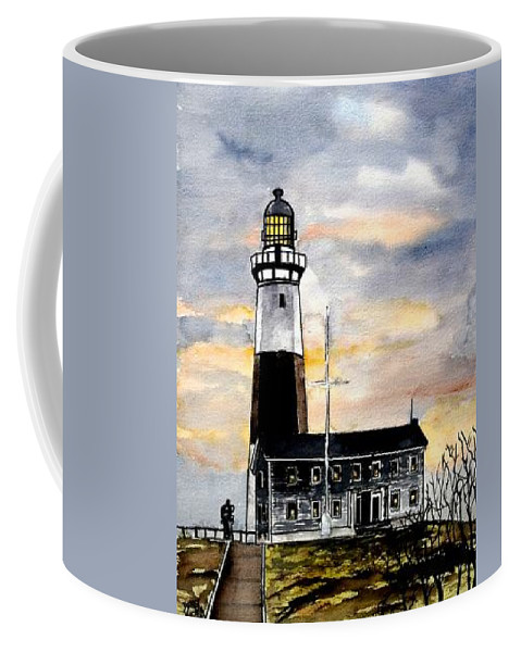 Montauk Point Coffee Mug featuring the painting Montauk Point Lighthouse by Derek Mccrea