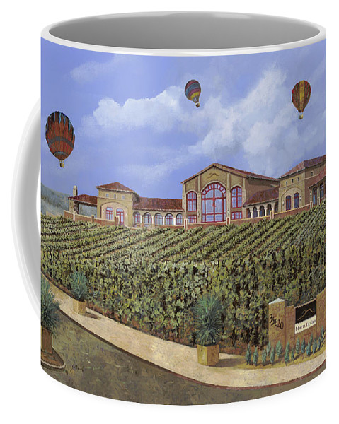 House Portrait  Coffee Mug featuring the painting Monte De Oro And The Air Balloons by Guido Borelli