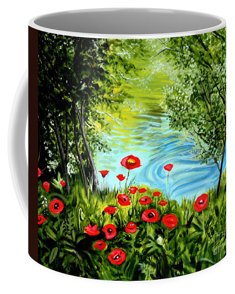 Landscape Coffee Mug featuring the painting Monte Rio Poppies by Elizabeth Robinette Tyndall
