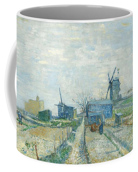Nature Coffee Mug featuring the painting Montmartre  Mills And Vegetable Gardens, Paris by Artistic Panda