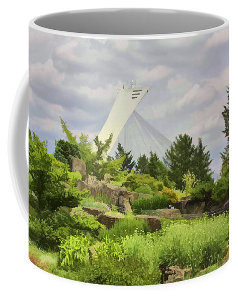 Montreal Coffee Mug featuring the photograph Montreal Biodome Backdrop by Deborah Benoit