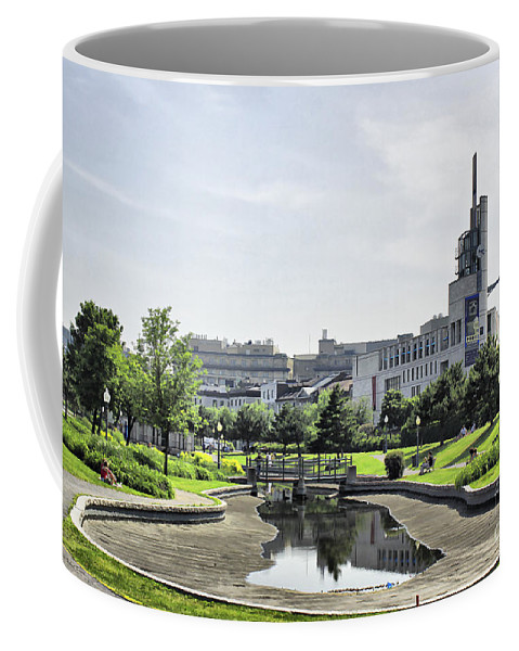 Montreal Coffee Mug featuring the photograph Montreal Peace In The Rush by Deborah Benoit