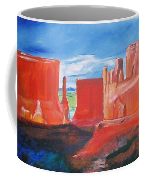 Floral Coffee Mug featuring the painting Monument Valley by Eric Schiabor