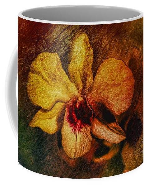 Orchid Coffee Mug featuring the painting Mood Of The Orchid by Deborah Benoit