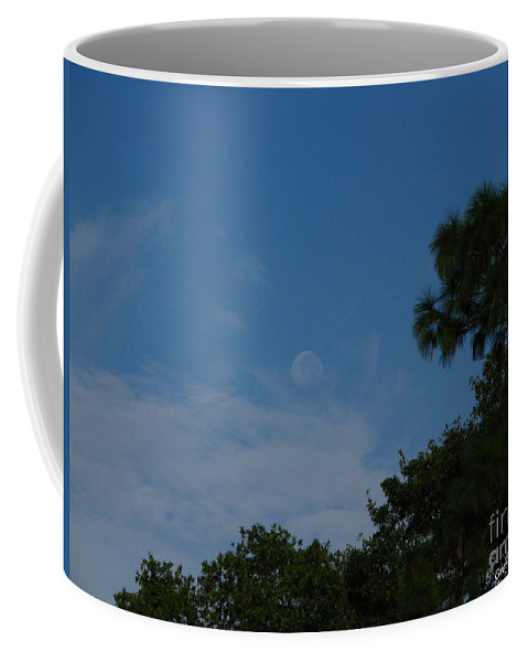 September A.m. Moon Coffee Mug featuring the photograph Moon Age Day Dream by Greg Patzer