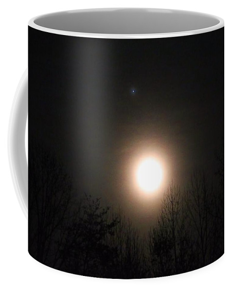 Moon Coffee Mug featuring the photograph Moon And Jupiter by Kathryn Meyer