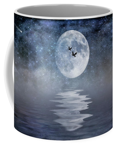 Space Coffee Mug featuring the photograph Moon And Sea by Cathy Kovarik