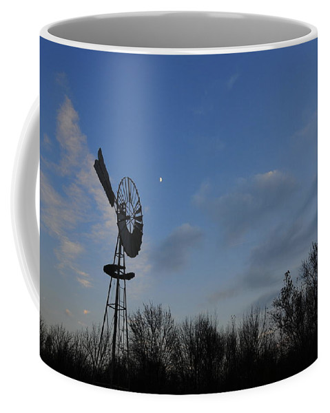 Wind Coffee Mug featuring the photograph Moon And Windmill by David Arment