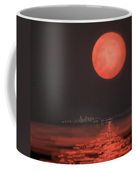 Moon Coffee Mug featuring the digital art Moon Escape by Heather Coen