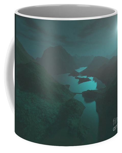 Digital Art Coffee Mug featuring the digital art Moon Light At The Mountains by Gaspar Avila