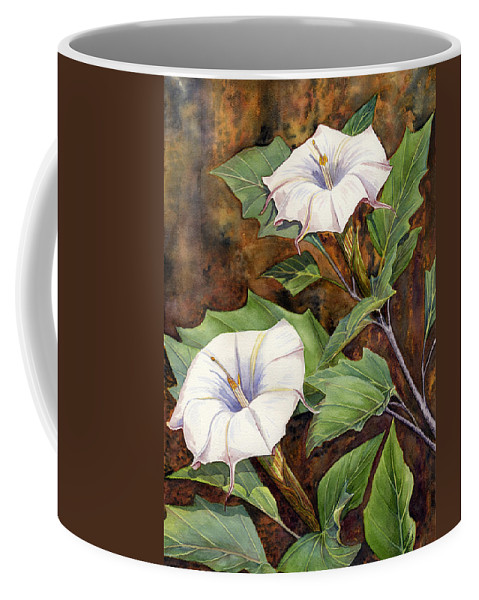 Sacred Datura Coffee Mug featuring the painting Moon Lilies by Catherine G McElroy
