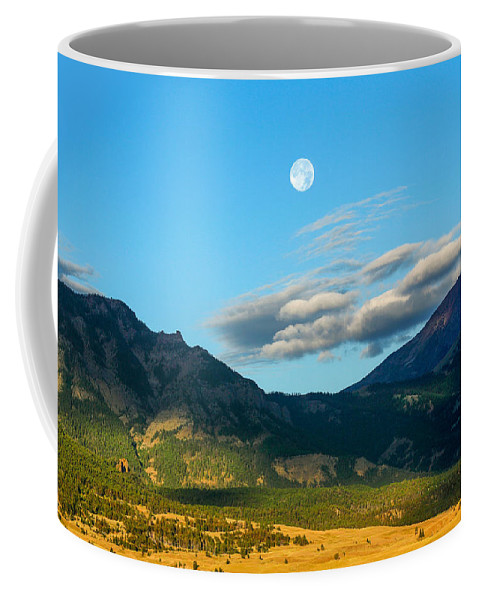 Moon Coffee Mug featuring the photograph Moon Over Electric Mountain by Todd Klassy