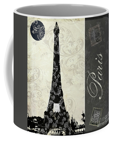 Paris Vintage Postcard Coffee Mug featuring the painting Moon Over Paris Postcard by Mindy Sommers
