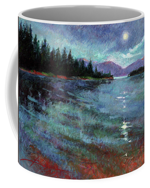 Murals Coffee Mug featuring the painting Moon Over Pend Orielle by Betty Jean Billups
