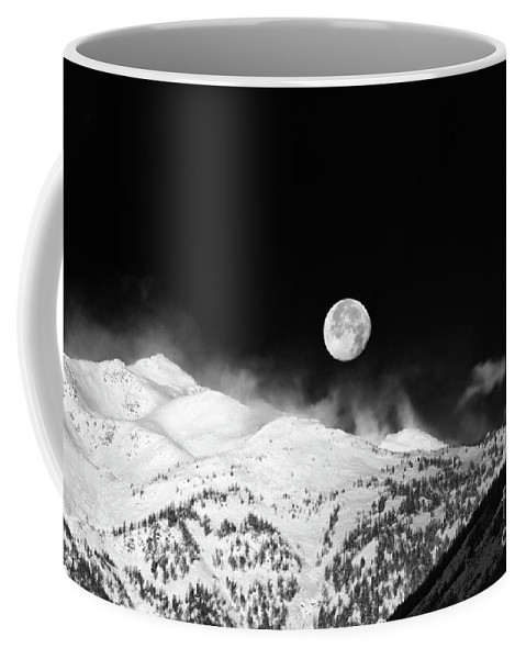 Moon Coffee Mug featuring the photograph Moon Over The Alps by Silvia Ganora