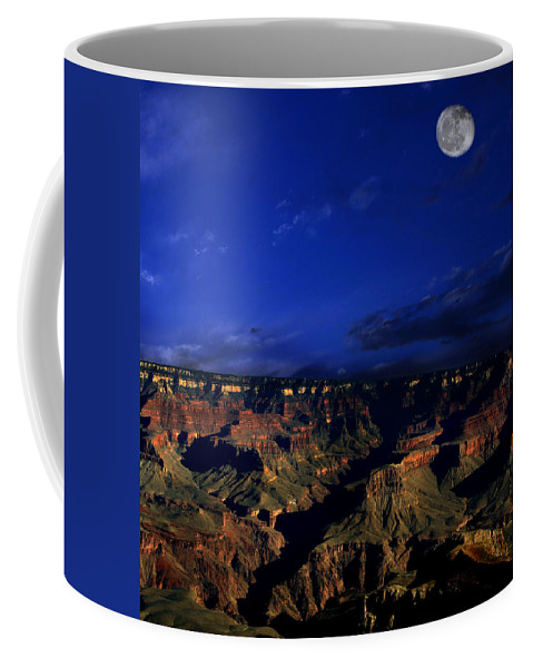Grand Canyon Coffee Mug featuring the photograph Moon Over The Canyon by Anthony Jones