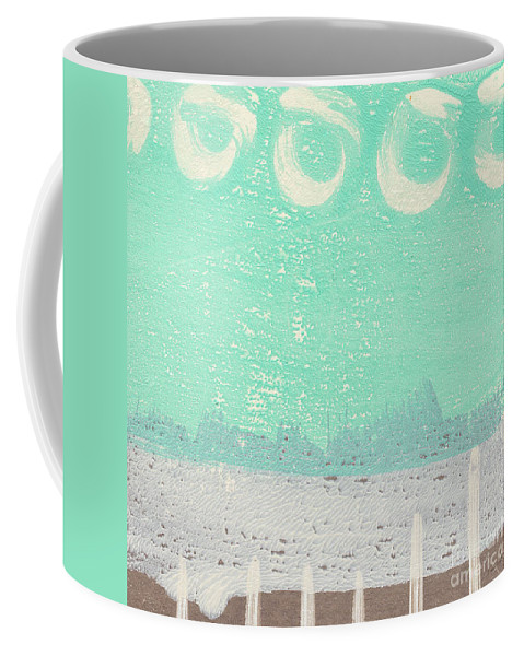 Abstract Coffee Mug featuring the painting Moon Over The Sea by Linda Woods