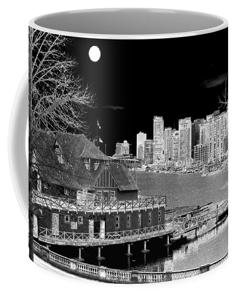 Moon Coffee Mug featuring the digital art Moon Over Vancouver by Will Borden