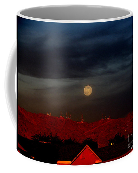 Patzer Coffee Mug featuring the photograph Moon Over Yuma by Greg Patzer