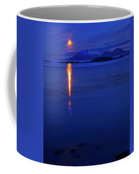 Mt. Edgecumbe Coffee Mug featuring the photograph Moon Rise Over Mt. Edgecumbe by Mike Dawson