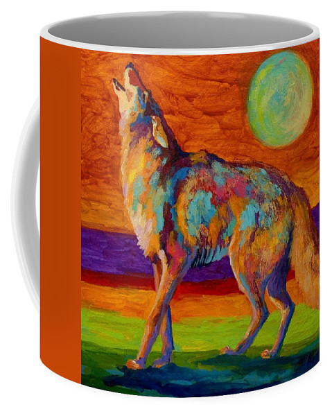 Coyote Coffee Mug featuring the painting Moon Talk - Coyote by Marion Rose