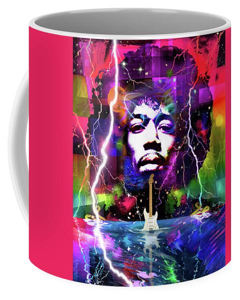 Jimi Hendrix Coffee Mug featuring the digital art Moon, Turn The Tides, Gently Gently Away by Mal Bray