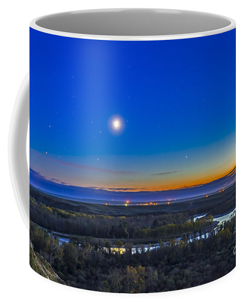 Alberta Coffee Mug featuring the photograph Moon With Antares, Mars And Saturn by Alan Dyer
