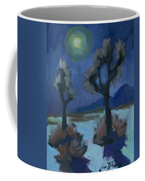 Palm Springs Coffee Mug featuring the painting Moonlight And Joshua Tree by Diane McClary