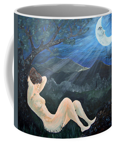 Woman Coffee Mug featuring the painting Moonlight And Sorrow by Donna Blackhall
