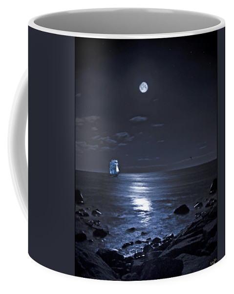 Tall Ship Coffee Mug featuring the photograph Moonlight Bay by Chris Lord
