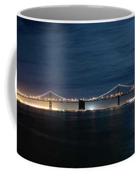 Moonlight By Bay Bridge Coffee Mug featuring the photograph Shimmering In The Moonlight by Tran Boelsterli