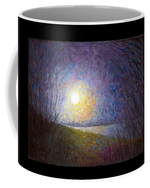 Landscape Coffee Mug featuring the painting Moonlight Lake by Susan Jenkins