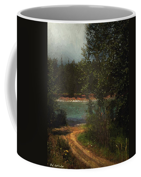 Forest Coffee Mug featuring the painting Moonlight Mile by RC DeWinter