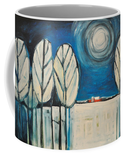 Landscape Coffee Mug featuring the painting Moonlight On The First Snow by Tim Nyberg