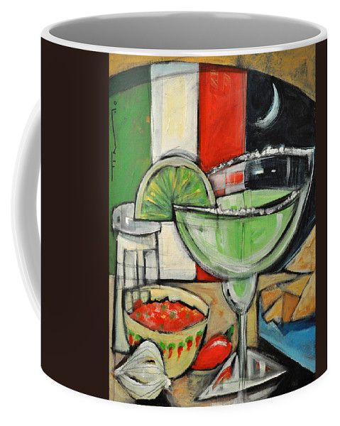 Margarita Coffee Mug featuring the painting Moonlight Over Margaritaville by Tim Nyberg