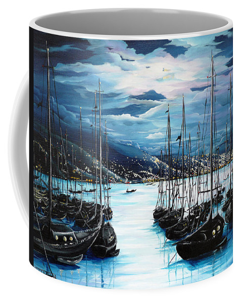 Ocean Painting  Caribbean Seascape Painting Moonlight Painting Yachts Painting Marina Moonlight Port Of Spain Trinidad And Tobago Painting Greeting Card Painting Coffee Mug featuring the painting Moonlight Over Port Of Spain by Karin Dawn Kelshall- Best