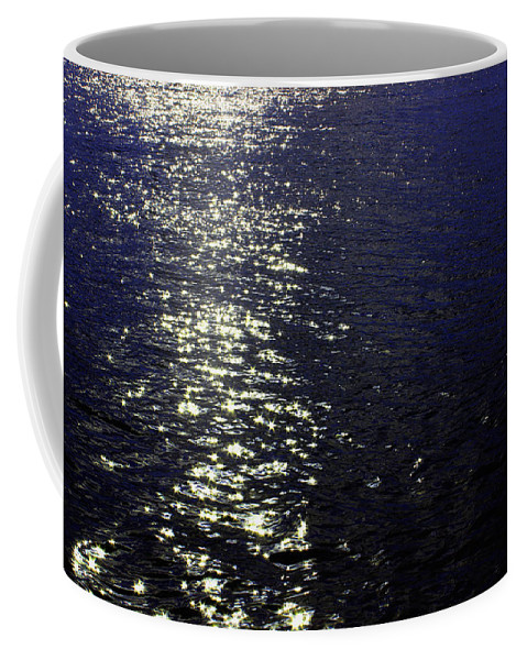 Ocean Coffee Mug featuring the photograph Moonlight Sparkles On The Sea by Linda Woods