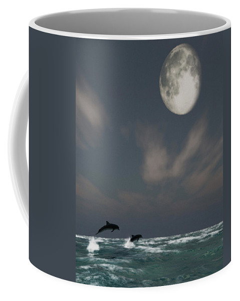 Oceans Coffee Mug featuring the digital art Moonlight Swim by Richard Rizzo