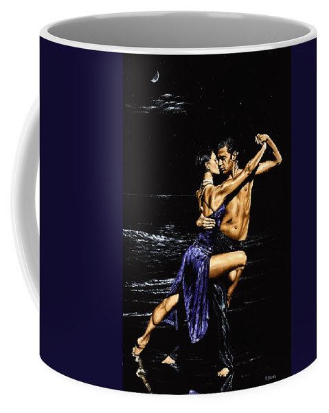 Moonlight Coffee Mug featuring the painting Moonlight Tango by Richard Young