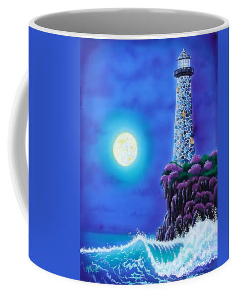 Lighthouse Coffee Mug featuring the painting Moonlight Vigil by Angie Hamlin