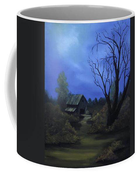 Landscape Coffee Mug featuring the painting Moonlit Path by Johanna Lerwick