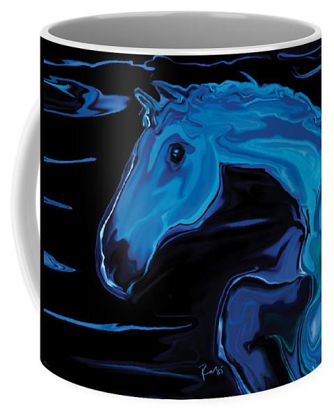 Animal Coffee Mug featuring the digital art Moonlit Run by Rabi Khan