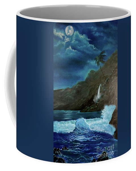 Seascape Coffee Mug featuring the painting Moonlit Wave by Jenny Lee