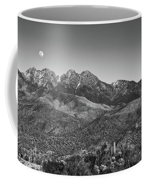 Adventure Coffee Mug featuring the photograph Moonrise Over Four Peaks by Rick Furmanek