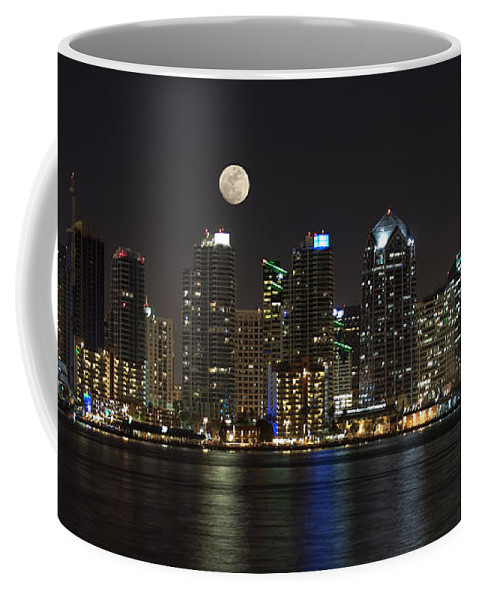 Panorama Coffee Mug featuring the photograph Moonrise Over San Diego by Sandra Bronstein