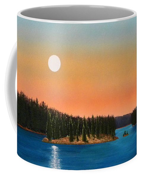 Landscape Coffee Mug featuring the painting Moonrise Over The Lake by Frank Wilson