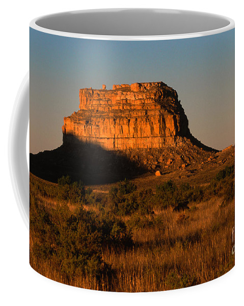 New Mexico Coffee Mug featuring the photograph Moonset At Fajada Butte by Sandra Bronstein