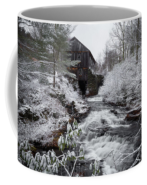Moore State Park Paxton Ma Massachusetts Winter Snow Ice Icey Snowy Outside Outdoors Nature Natural New England Newengland Usa U.s.a. Forest Woods Secluded River Stream Water Fall Falls Waterfall Rocks Rocky Trees Brian Hale Brianhalephoto Long Exposure Longexposure Stonewall Stone Wall Artists Artist Bluff Coffee Mug featuring the photograph Moore State Park 4 by Brian Hale