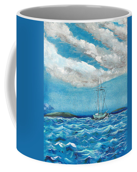Impressionism Coffee Mug featuring the painting Moored In The Bay by J R Seymour