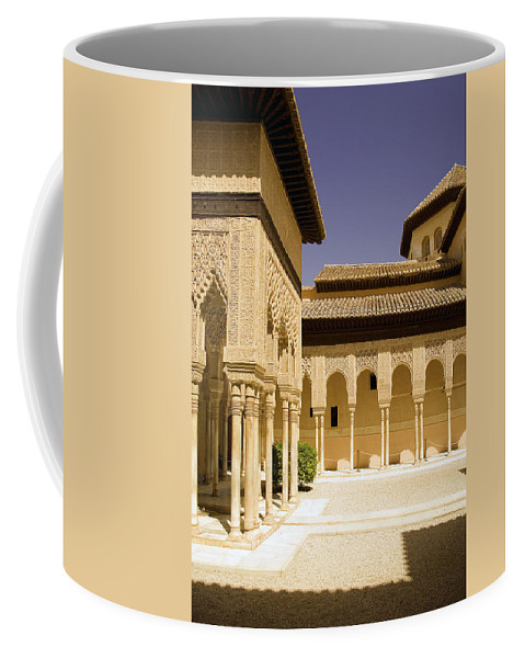 Moorish Coffee Mug featuring the photograph Moorish Architecture In The Nasrid Palaces At The Alhambra Granada by Mal Bray